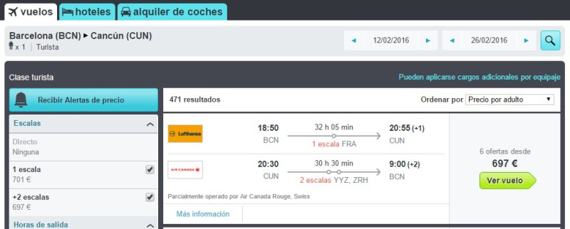 vuelos cancun barcelona: